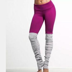 Pants - Magenta pink gray leg warmer yoga pants leggings